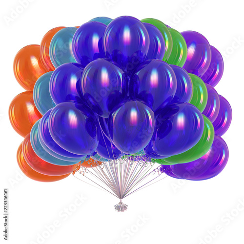 Fotografia  balloons bunch multicolored, birthday party decoration colorful
