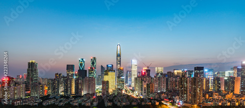 Stickers pour porte Pekin shenzhen skyline at night