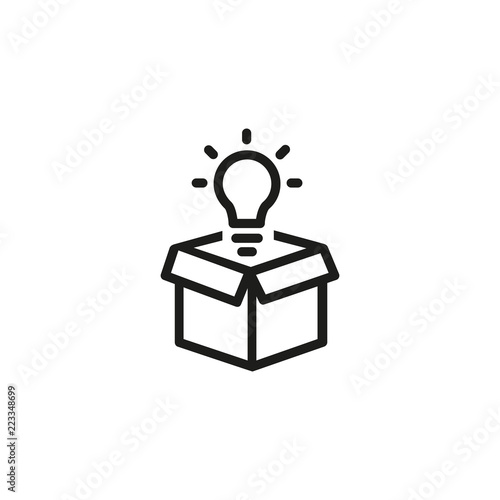 Foto  Open box with light bulb line icon