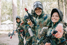 Smiling Young Male Paintballer...