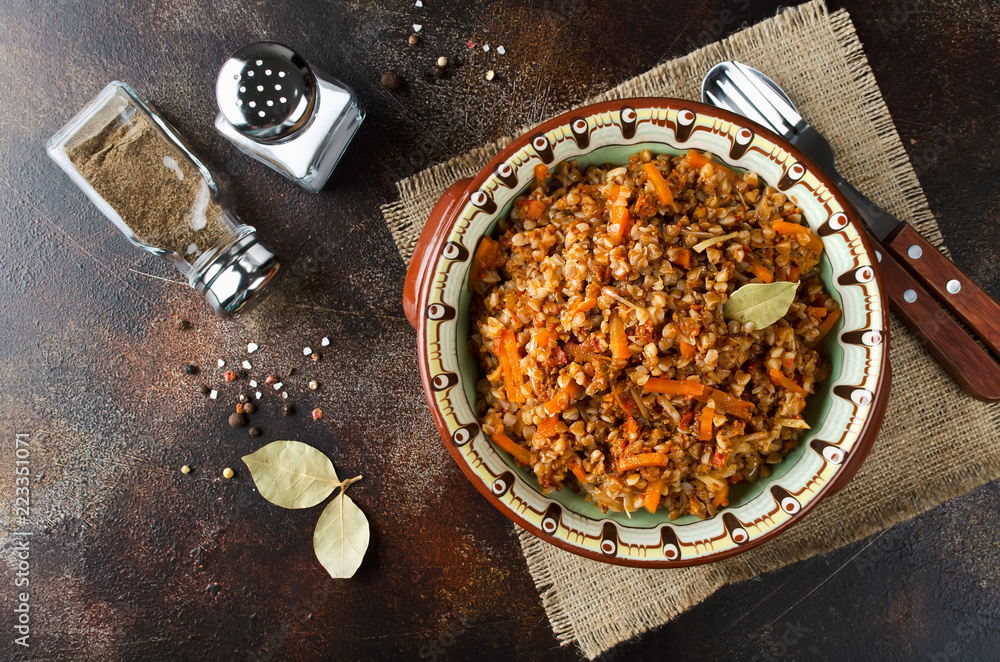Fototapeta Buckwheat in a merchant manner (stewed with minced meat and vegetables)