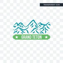 Grand Teton Vector Icon Isolated On Transparent Background, Grand Teton Logo Design