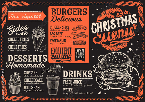 Christmas Restaurant Poster.Christmas Menu Template For Burger Restaurant And Cafe On A