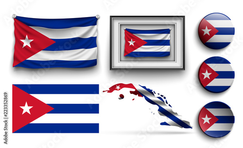 cuba flags collection isolated on white Canvas Print
