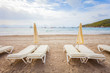 IBIZA, SPAIN - OCTOBER 10, 2014: Panoramic view of Ibiza beach near Pacha, Ibiza island