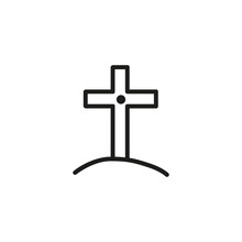 Memorial Cross On Hill Line Icon. Tomb, Monument, Gravestone. Halloween Concept. Vector Illustration Can Be Used For Topics Like Spirituality, Funeral, Religion