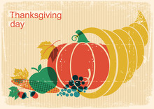 Happy Thanksgiving Day Vintage Poster With Cornucopia And Pumpkin And Autumn Elements