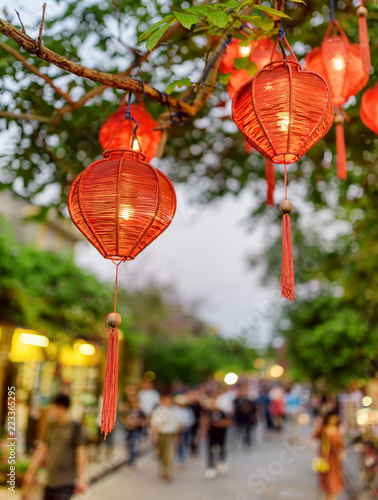 Photo  Wonderful evening view of green tree decorated with red lanterns