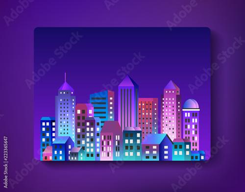 Spoed Foto op Canvas Violet Cityscape landscape ultraviolet architecture city from flat urban building street skyscraper. Vector concept business