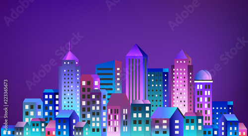 Cityscape landscape ultraviolet architecture city from flat urban building street skyscraper. Vector concept business