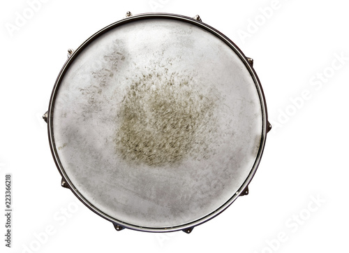 Canvastavla  Snare drum textured top view isolated on white