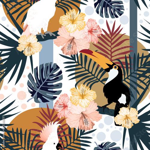 tropikalny-wzor-z-slodkie-tukany-papugi-kwiaty-i-liscie-wektor-lato-egzoty