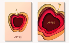 Two Cards In Paper Cut Style With Apple, Minimal Template Design. Abstract Paper Waves, Layers, 3d Art. Vector Illustration