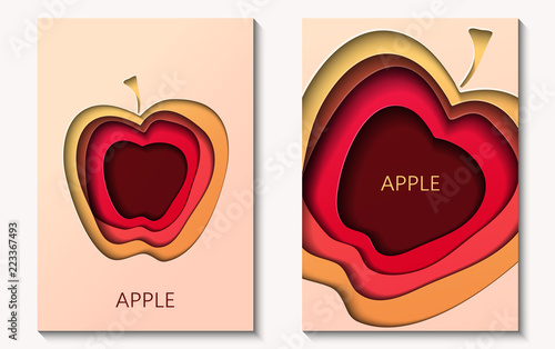 Two cards in paper cut style with apple, minimal template design. Abstract paper waves, layers, 3d art. Vector illustration - 223367493