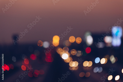 Poster de jardin Las Vegas Bokeh City Street Background