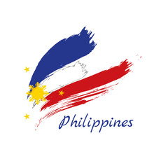 Grunge Brush Stroke With Philippines National Flag. Watercolor Painting Flag Of Philippines. Symbol, Poster, Banne Of The National Flag. Style Watercolor Drawing. Vector Isolated On White Background.