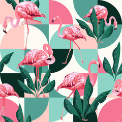 Fototapeta Zwierzęta Exotic beach trendy seamless pattern, patchwork illustrated floral vector tropical banana leaves. Jungle pink flamingos.