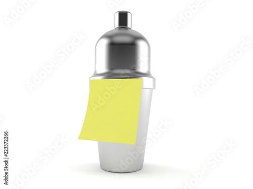 Fotografia  Cocktail shaker with blank yellow sticker