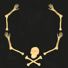 Vector Arm Bones Human Skeleton Scull Frame Isolated On Black Grunge Background. For Party Design, Invitations Cards Or Label Tags