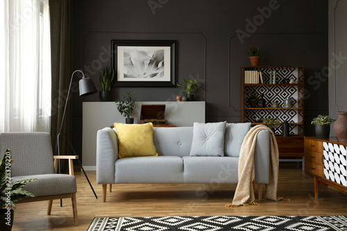 Real Photo Of Grey Sofa With Pillows Standing In Dark Living Room