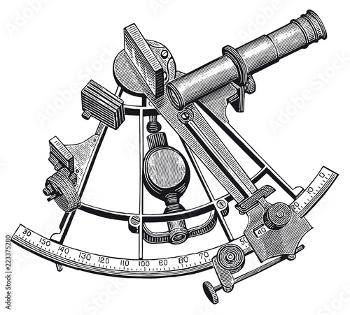 Fotografie, Obraz  Vector High Detail Sextant Engraving