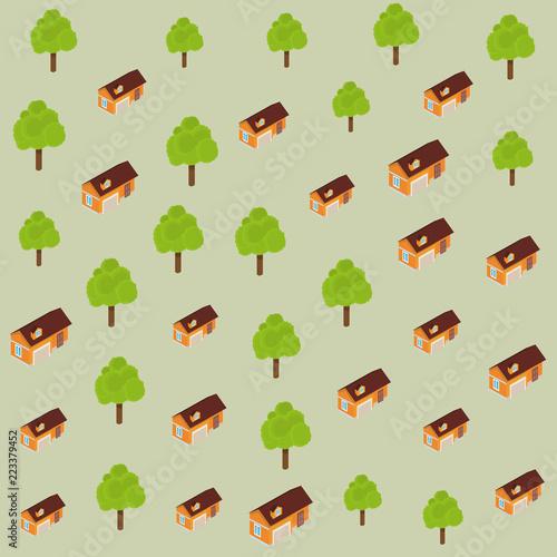 Deurstickers Op straat Trees and houses pattern background
