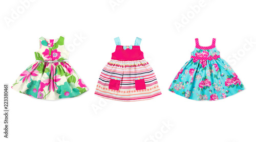Foto auf AluDibond Boho-Stil Set of baby girl dresses, isolated on white background