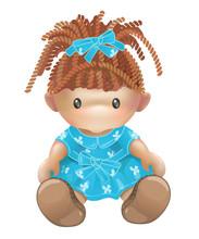 Doll Vector. Rag Toy. Threads