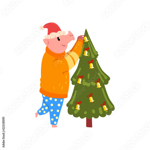 dd2489175799d Cute pig decorating Christmas tree