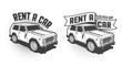 Rent a car retro vintage signboard, emblem with 3d SUV. Monochrome vector illustration.