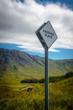 A Passing Place Sign On A Single Track Road In A Remote Glen On The Isle Of Mull, Inner Hebrides, Scotland, UK
