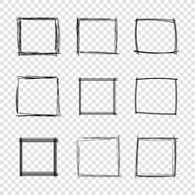Vector Hand Drawn Scribble Square Frames On Transparent Background.