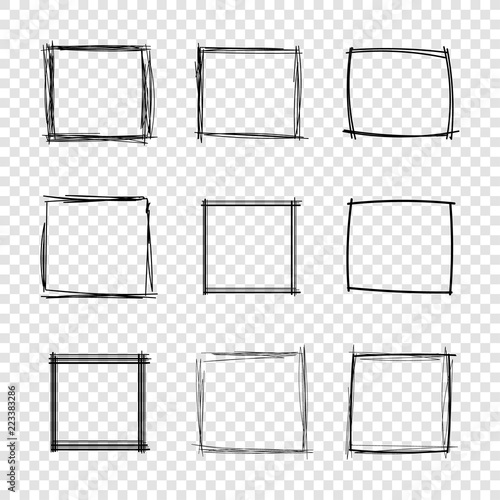 Cuadros en Lienzo Vector Hand Drawn Scribble Square Frames on Transparent Background