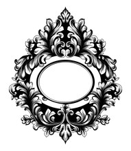 Baroque Oval Frame Vector. French Luxury Rich Intricate Ornaments. Victorian Royal Style Mirror Decors