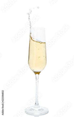 Foto op Plexiglas Alcohol Glass of champagne on white background. Festive drink