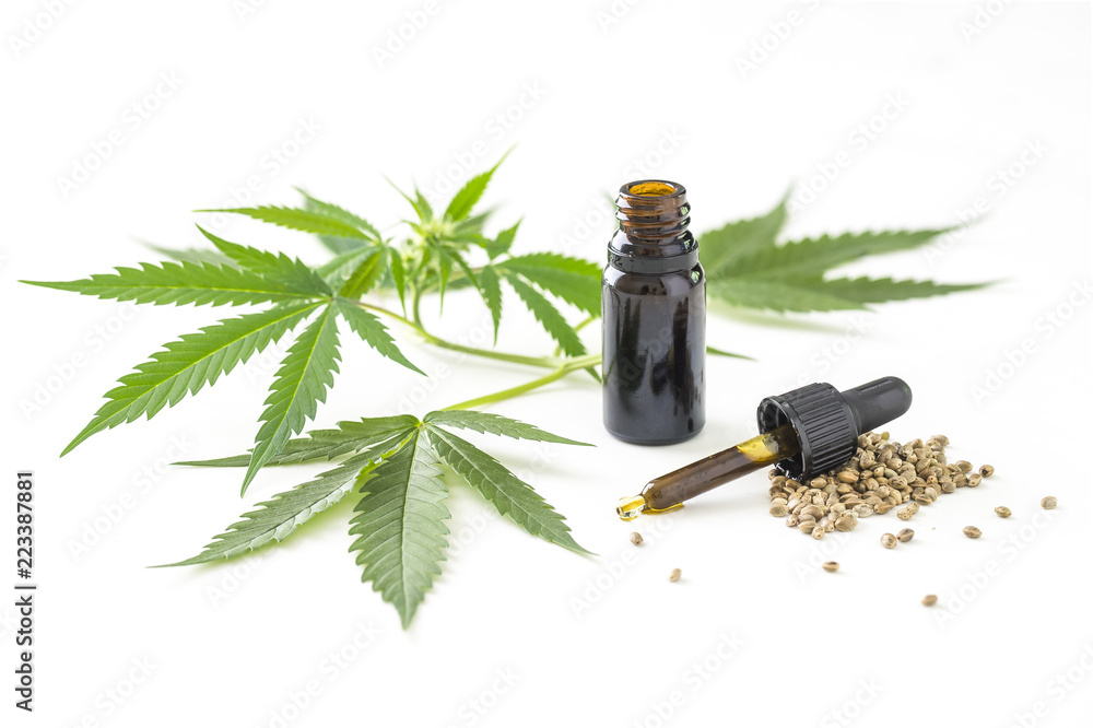 Fototapety, obrazy: Bottle of cannabis oil with leafs and seeds on bright surface