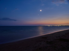 Long Exposure At Granelli Beach At Night During Summer. Sicily, Italy