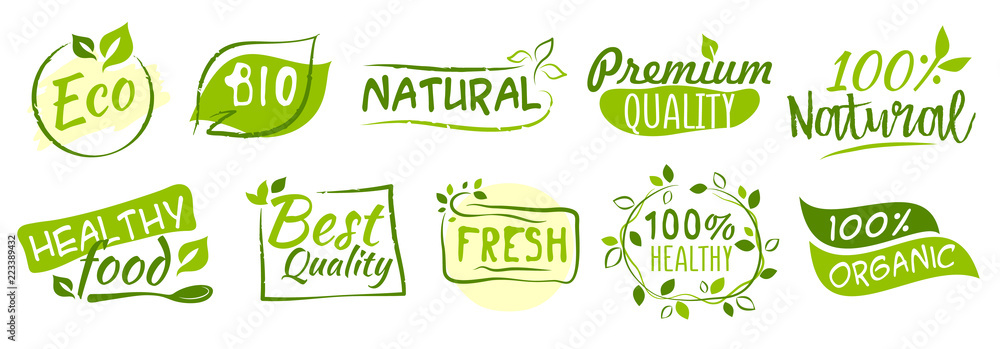 Fototapety, obrazy: First set of Bio and Eco stickers