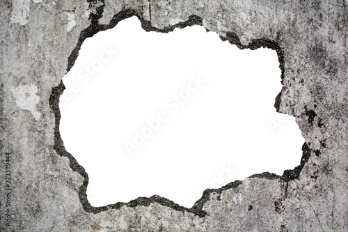 Fotomural  Broken old grunge wall on white with clipping path, concept of escape