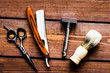 Tools for cutting beard barbershop top view