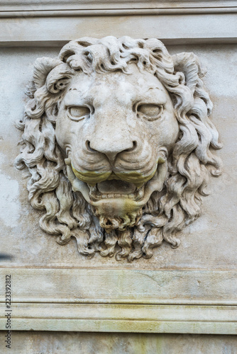 Deurstickers Historisch mon. ancient lion relief
