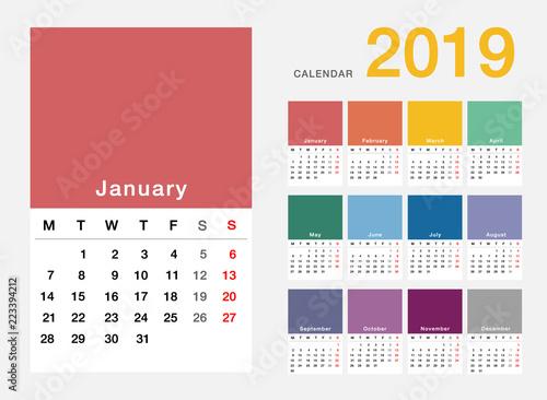 colorful year 2019 calendar horizontal vector design template