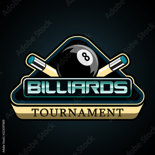 Tela bright American Billiards vector logo on a dark background, featuring a black ba