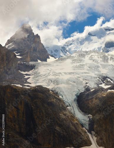 Mountain landscape with glacier and peaks nearby resort of Kandersteg, Switzerland