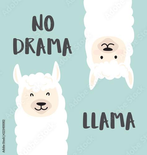Cute cartoon lama design with No drama llama motivational and inspirational quote Wallpaper Mural