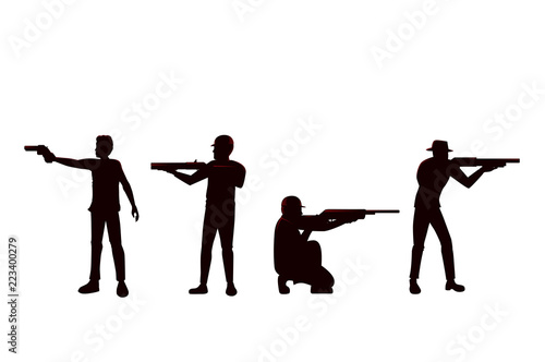 Obraz na płótnie Silhouette of Man holding Gun in difference Shooting Position