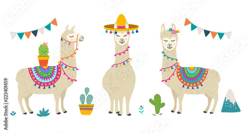 Fotografia Cute cartoon llama alpaca vector graphic design set