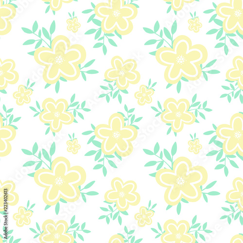 Seamless pattern of cartoon hand-drawn yellow cute flowers and small green leaves. Illustration in pastel shades for clothes, wrappers, gifts, textiles, postcards and invitations.