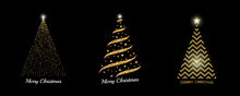 Christmas Tree Collection. Vector Golden Sparkling Christmas Tree Illustrations For Background, Card, Banner Design.