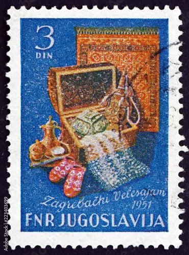 Spoed Foto op Canvas Mediterraans Europa Postage stamp Yugoslavia 1951 Zagreb international fair